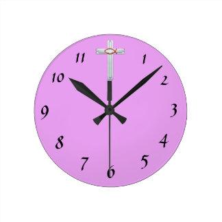Red Ichthus Cross Round Clock