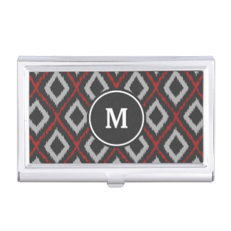 Red Ikat Monogram Business Card Holder
