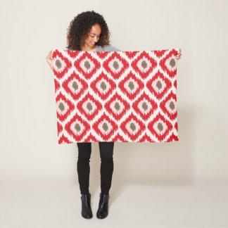 Red Ikat Pattern Fleece Blanket