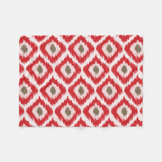 Red Ikat Pattern Fleece Blanket