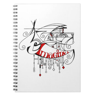 Red Imagine In Lines and Dangles Note Book