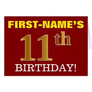 "Red, Imitation Gold ""11th BIRTHDAY"" Birthday Card"