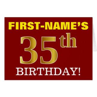 "Red, Imitation Gold ""35th BIRTHDAY"" Birthday Card"
