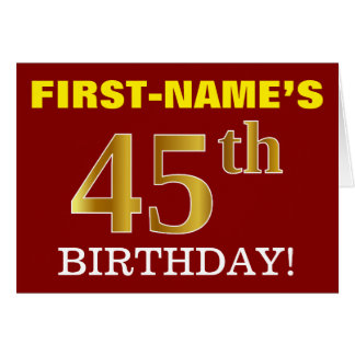 "Red, Imitation Gold ""45th BIRTHDAY"" Birthday Card"