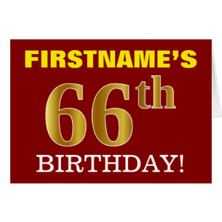 "Red, Imitation Gold ""66th BIRTHDAY"" Birthday Card"