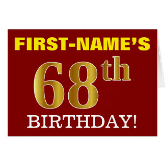 "Red, Imitation Gold ""68th BIRTHDAY"" Birthday Card"