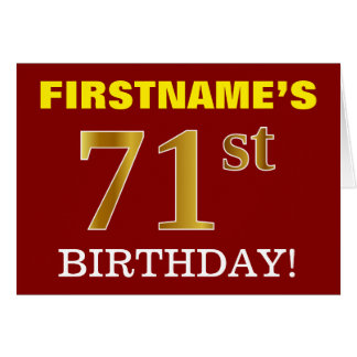 "Red, Imitation Gold ""71st BIRTHDAY"" Birthday Card"