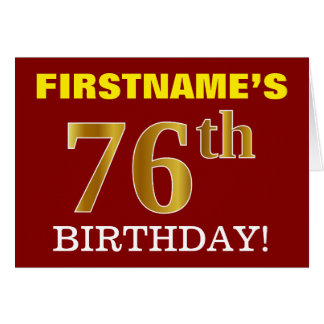 "Red, Imitation Gold ""76th BIRTHDAY"" Birthday Card"