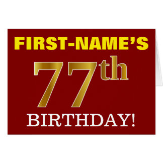 "Red, Imitation Gold ""77th BIRTHDAY"" Birthday Card"