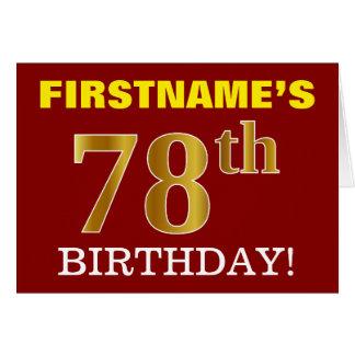 "Red, Imitation Gold ""78th BIRTHDAY"" Birthday Card"