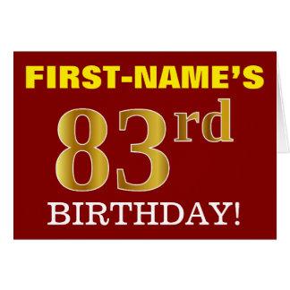 "Red, Imitation Gold ""83rd BIRTHDAY"" Birthday Card"
