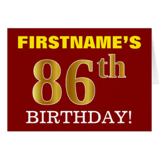 "Red, Imitation Gold ""86th BIRTHDAY"" Birthday Card"