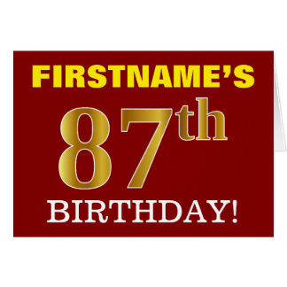 "Red, Imitation Gold ""87th BIRTHDAY"" Birthday Card"