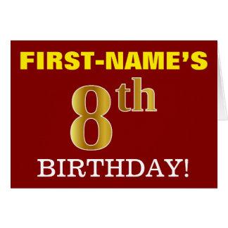 "Red, Imitation Gold ""8th BIRTHDAY"" Birthday Card"