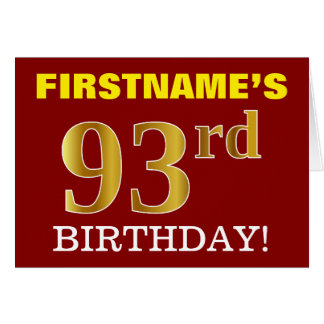 "Red, Imitation Gold ""93rd BIRTHDAY"" Birthday Card"