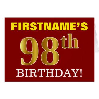 "Red, Imitation Gold ""98th BIRTHDAY"" Birthday Card"