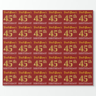 """Red, Imitation Gold Look """"45th BIRTHDAY"""" Wrapping Paper"""