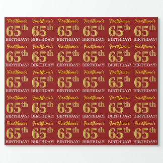 """Red, Imitation Gold Look """"65th BIRTHDAY"""" Wrapping Paper"""