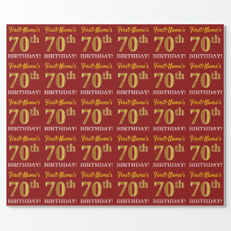 """Red, Imitation Gold Look """"70th BIRTHDAY"""" Wrapping Paper"""