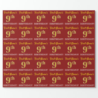 "Red, Imitation Gold Look ""9th BIRTHDAY"" Wrapping Paper"