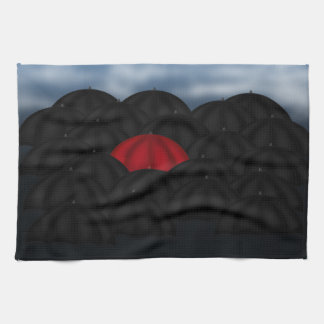 Red in a Black Sea of Umbrellas Kitchen Towel