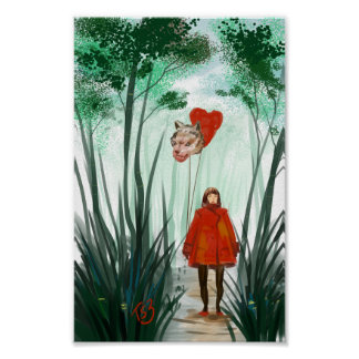 Red in  forest evergreen poster