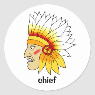 Red Indian Head Round Sticker
