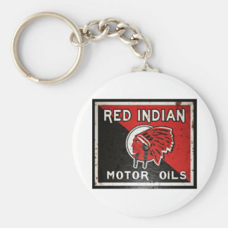 Red Indian Motor Oil sign rusted vers. Basic Round Button Keychain
