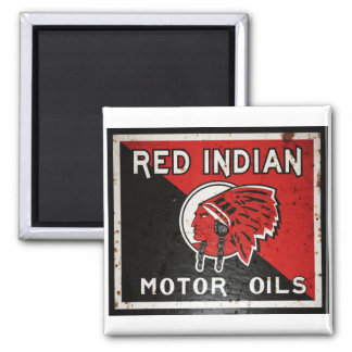 Red Indian Motor Oil sign rusted vers. Square Magnet