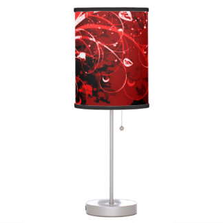 Red Infernum Floral Airbrush Art Table Lamp
