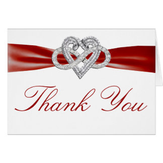 Red Infinity Heart Thank You Card