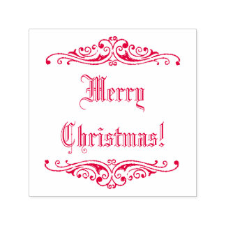 Red Ink Vintage Holiday Greeting Merry Christmas! Self-inking Stamp