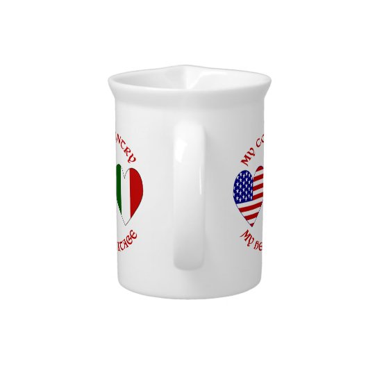 Red Italian USA Country Heritage Pitcher