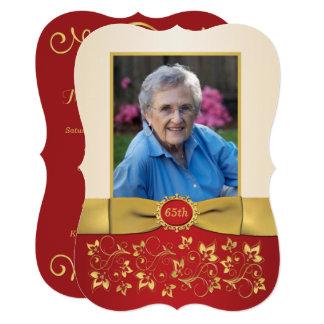 Red, Ivory, Gold 65th Photo Birthday Invitation 2