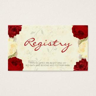 Red & Ivory Roses Wedding Registry Card