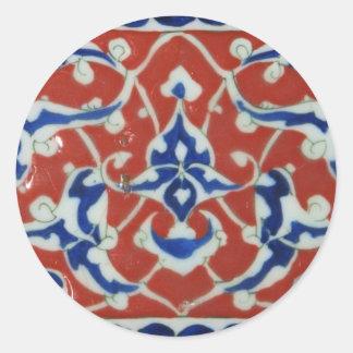 Red Iznik Turkish Tile Ottoman Empire Classic Round Sticker