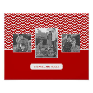 Red Japanese Pattern | Family Photos & Text Poster