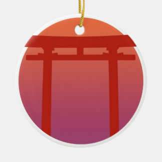 Red Japanese Torri Gate - Sunset - Zen - Japanese Round Ceramic Ornament