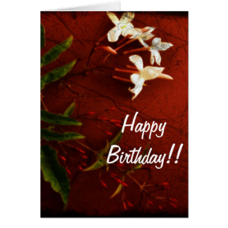 Red Jasmine Birthday Card