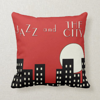 Red Jazz and the City Throw Pillow