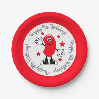 Red Jelly Bean Birthday Party Paper Plate