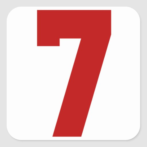 Red Jersey Number 7 Square Sticker   Zazzle