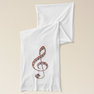 Red Jeweled Music Treble Clef Scarf