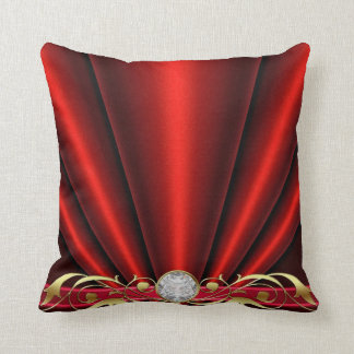 Red Jeweled Scroll Pillow