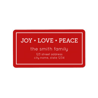 Red Joy Love Peace Modern Holiday Address