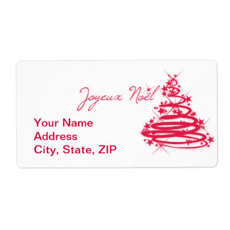 Red Joyeux Noël with Christmas Tree Shipping Label