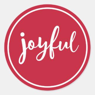 RED | Joyful Modern Holiday Classic Round Sticker