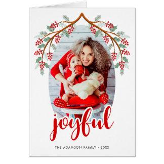 Red Joyful Script   Modern Holiday Photo Card