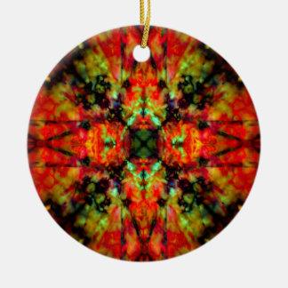 Red kaleidoscope star pattern ceramic ornament