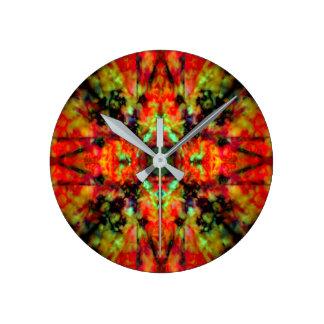 Red kaleidoscope star pattern clocks